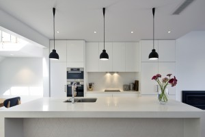 white painted modern kitchen in South Yarra