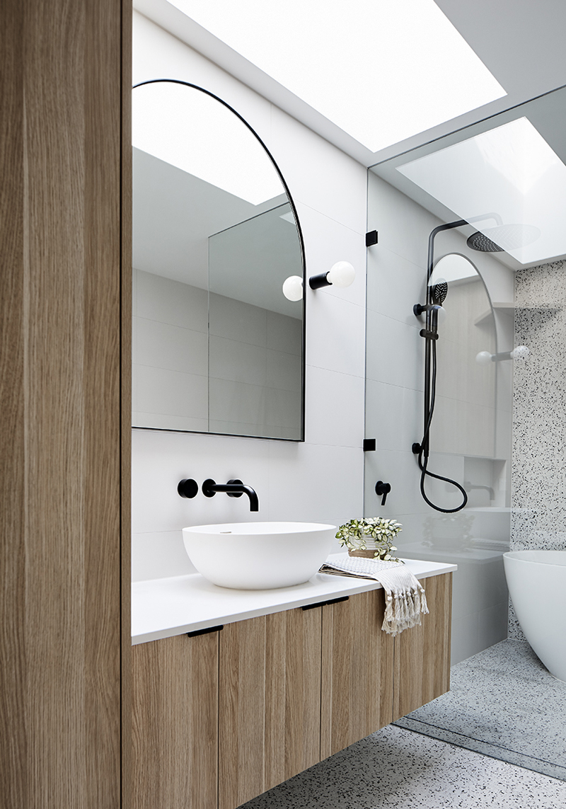 side view of a bathroom in a heritage home